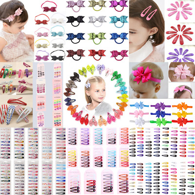 100X Lot Baby Bow Hair Clips Ribbon Alligator Girl Sides Snaps Hairpin Accessory