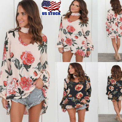Women Chiffon Choker V Neck Long Sleeve Tops T Shirt Floral Casual Blouse Tee US