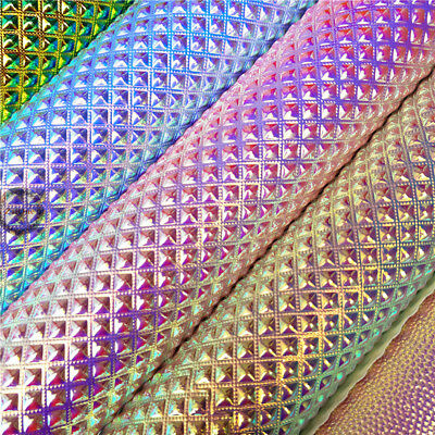 Metallic Iridescent Faux Leather Fabric Holographic Leatherette Crystal Crafts