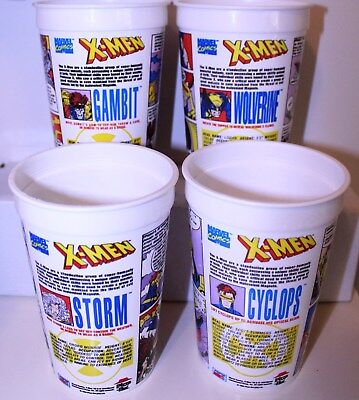 Pizza Hut (UK) 1994 X-Men Set of 4 Plastic Cups,Wolverine,Gambit,Storm,Cyclops