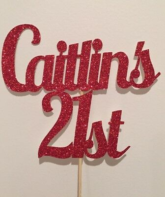 Personalised  Custom Party Cake Topper Twenty One 21st Add Your Name And Age