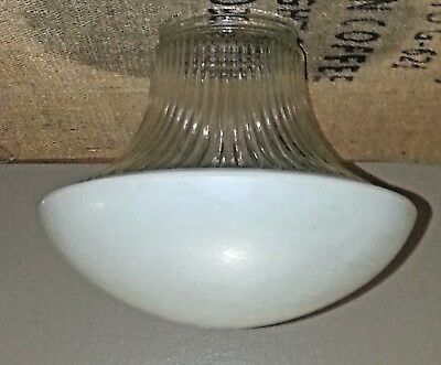 Vintage Art Deco Frosted & Clear Glass Ceiling, School, Mushroom Light Fixture!!