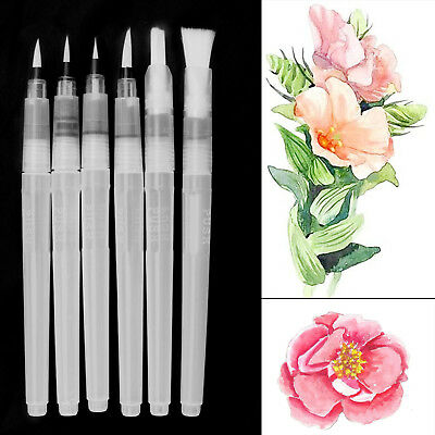 6 Pilot Water Brush Ink Pen Paint Calligraphy Drawing Assorted Tip Watercolor