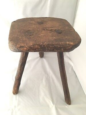 "ANTIQUE hand made RUSTIC COUNTRY MILKING STOOL three legs, folk art,13"" high"