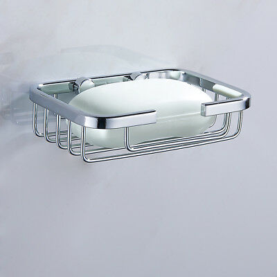 Stainless Steel Wall Mounted Soap Dish Holder Basket Tray Bathroom Bath Shower