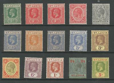 St Lucia Sg91-105 The 1921-30 Gv Set Of 15 Mounted Mint Cat £140