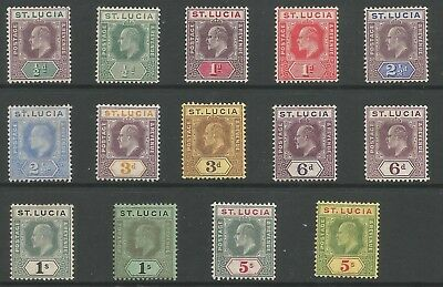 St Lucia  Sg64-77 The 1904-10 Evii Full Set Of 14 Mounted Mint Cat £300