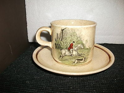 royal worcester palissy hunting scenes cup and saucer duo