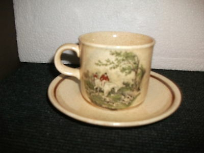 royal worcester palissy hunting scenes cup and saucer duo(d)