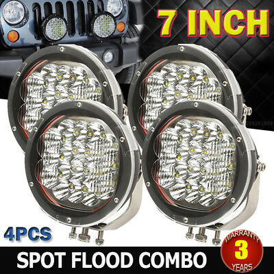 4x 7INCH 7200W CREE LED SPOT FLOOD DRIVING LIGHT BAR REPLACE HID 4X4WD UTE SUV