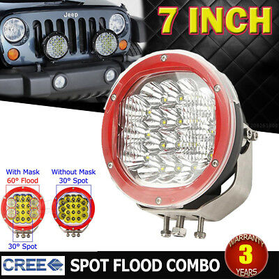 7Inch 1800W Cree LED Driving Light Spot Flood Work Light Offroad Red Round 4x4WD