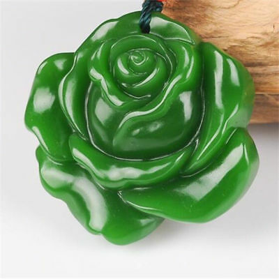 China hand-carved Green jade Rose jade pendant Necklace Amulet