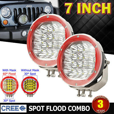 2x 7inch 3600W Round CREE LED Work Driving Light Spot Flood Offroad 4x4WD Truck