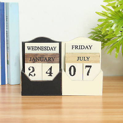 Retro Vintage Wood Block Perpetual Calendar Wooden Office Home Desk Decor Diy