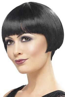 LADIES FRINGED BLACK 20's FLAPPER BOB WIG ADULT 20s BURLESQUE SHOWGIRL HAIRSTYLE
