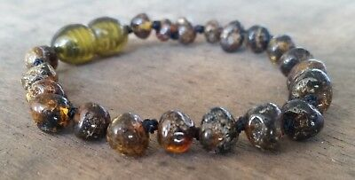 Genuine Baltic Amber Child Bracelet - OLIVE GREEN - Jewellery Beads - FREE POST
