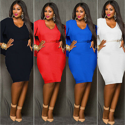 Sexy Women Regular Plus Cape Backless Party Evening Bodycon Casual Dress no belt
