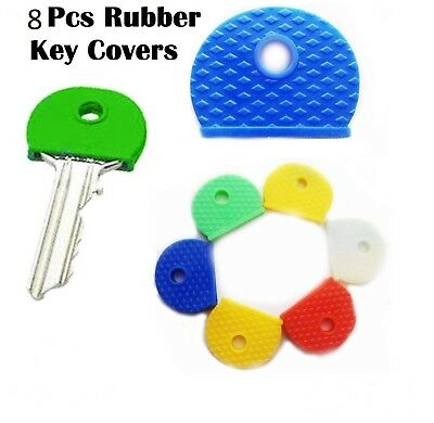 6 x Rubber Key Caps Coloured Covers Plastic Top Cap Cover Tag Door Identifier