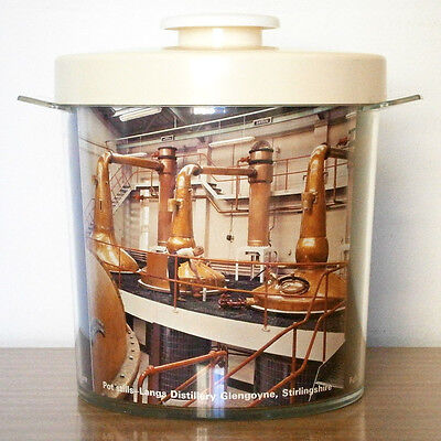 VINTAGE BARWARE LANGS SCOTCH WHISKY PLASTIC ICE BUCKET with DISTILLERY PHOTOS