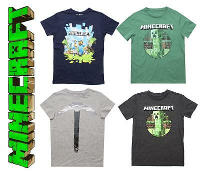 103e56fcc Boys Official Mojang Minecraft Assorted Creeper Steve T-Shirt Tops 4-5 Years
