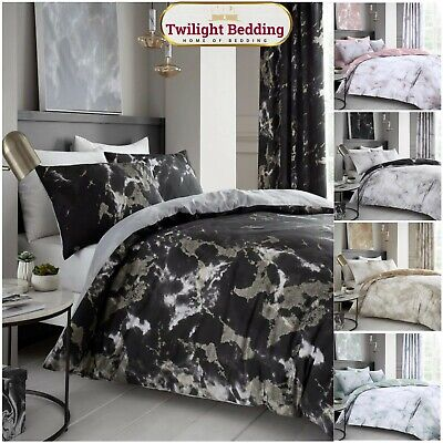 Marble Effect Printed Duvet Cover With Pillowcases Quilt Bedding Set Double king