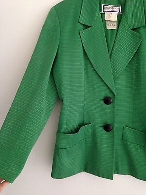 Womens Yves Saint Laurent Designer Amazing Textured Business Blazer Jacket 36