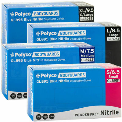 Polyco Bodyguard Blue Nitrile Medical Garage Tattoo Gloves GL895 1000 Gloves