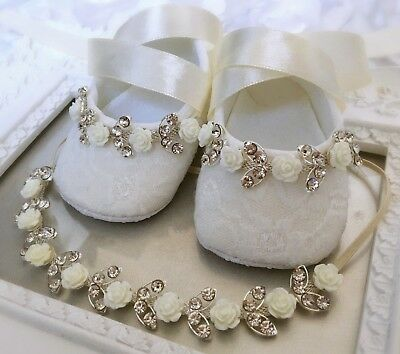 Luxury Baby Girl Ivory Christening Baptism Shoes Headband Set Rhinestone Wedding