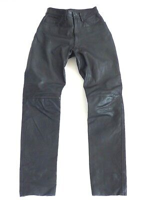 Women's Vintage OUTER EDGE High Waist Black Real Leather Jeans Pants W24 L31