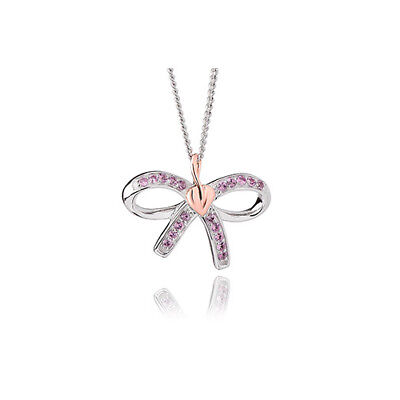 NEW Clogau Silver & Rose Gold Tree of Life Bow Pink Sapphire Pendant £50 off!