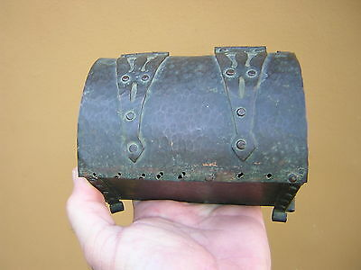 Antique Arts + Crafts Hand Made Hammered Copper Bronze Chest Box Casket