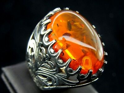 Turkish Handmade Ottoman Style 925 Sterling Silver Amber Men's Ring Size 9.75