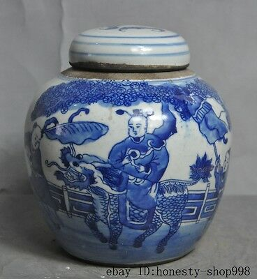 collect Old Chinese Blue & white porcelain Lucky boy Kylin beast Pot Jar Crock