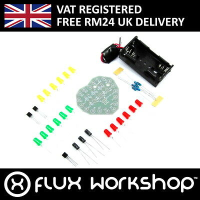 Flashing LED Heart DIY Kit Capacitor Unsoldered 2xAA 3V Arduino Flux Workshop