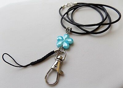 Students Leather ID PASS & USB HOLDER Turquoise Ladies Girls Lanyard Neck Strap