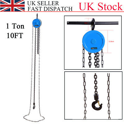 Hot 1 Ton 10FT Chain Block Tackle Hoist Car Engine Heavy Load Lifting Tool Winch