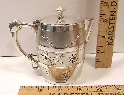 Antique Victorian Meriden Silver Plate Syrup Pitcher Barrel Shape Man's Face