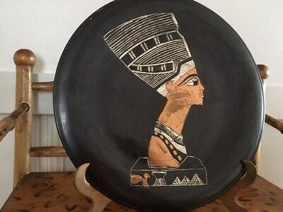 Vintage Hand Etched Copper/metal Hanging plate of Ancient Egyptian Nefertiti