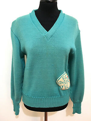 CULT VINTAGE '50 Maglione Donna Lana College Rockabilly Wool Woman Sweater Sz.M