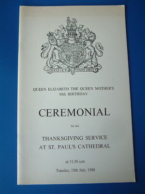 Royalty: Queen Elizabeth the Queen Mother 80th Birthday Thanksgiving Ceremonial