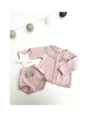 Traditional Spanish Style Baby Girls Dusky Pink Cardigan & Jam Pants Outfit Set