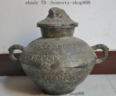 "15""old chinese bronze fengshui Dragon Head Elephant statue bottle pot jar Crock"