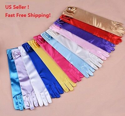 Wedding Flower Girl's Stretch Satin Dress Gloves Toddlers Baby Girls 4-10 Years