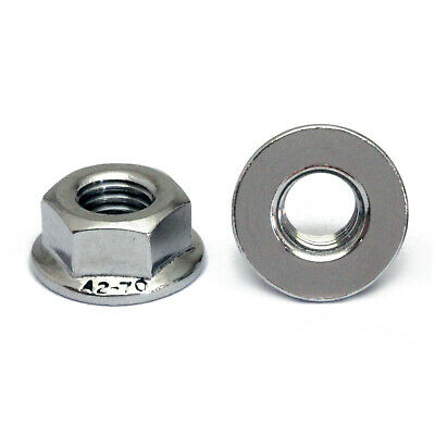 Hex Flange Nuts DIN 6923 Stainless Steel A2 / 18-8 Metric Coarse M3 M4 M5 M6 M8