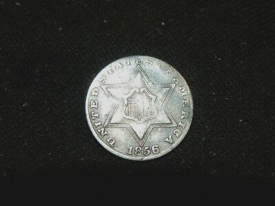RARE 1856 3c THREE CENT SILVER PIECE XF-AU 2 ARROWS BUY IT NOW OR MAKE OFFER