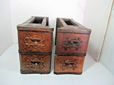 4 Vtg. Antique Wooden Treadle Sewing Machine Drawers Plus Left & Right Frames