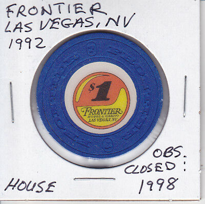 $1 Casino Chip Frontier -  Las Vegas, Nv - House Mold Obsolete Closed 1998