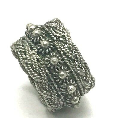 Vintage Oxidized Silver 925 Wide Dotted Floral Cable Twist Cocktail Band Ring
