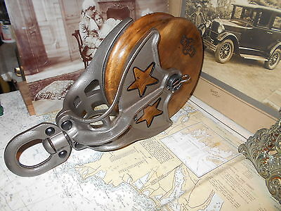 Vintage Cast Iron Double Star Starline Big Barn Pulley 7''wheel Farm Rustic Tool