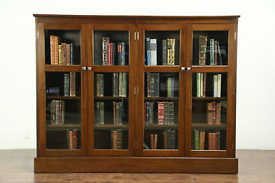 Mahogany 1930 Vintage Library Bookcase, 4 Doors, Adjustable Shelves
